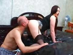 Russian mature couple, woman dominates