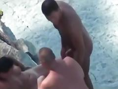 Couple tries trio sex on Beach