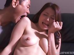 Japanese cutie gets her hairy cunt fucked and creampied