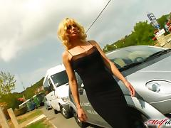 Sexy lust gets on her knees for a line of men