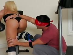 Sneakers, Blonde, Blowjob, Couple, Gym, HD