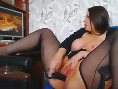 Chubby Brunette Girl Masturbating To Porn