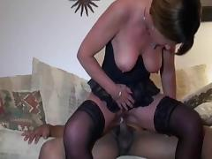 Amateur wife interracial anal in stockings.