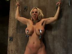 Busty blonde forced to orgasm in a dungeon