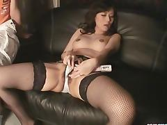 Manami Komukai In Stockings Masturbating