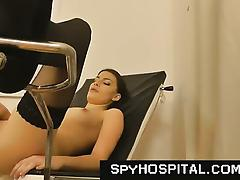 Medical exam hidden camera in gyno clinic