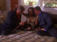 A smoking hot brunette Maya Gates is under two men