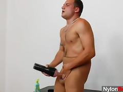 Queer gent nylon panty-hose fetish