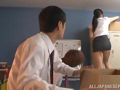 Sexy Japanese teacher Mira Tamana fucked by two guys