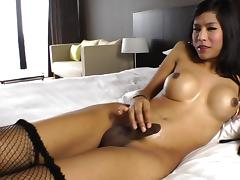 Fake-tit brunette ladyboy Nat fucks with a dildo