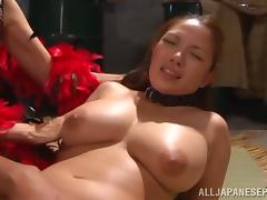 Amazing Japanese AV Model plays slave in nasty group action