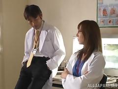 Wild Asian milf plays nurse on the floor