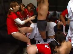 Sexy Japanese baseball team has a hot gangbang