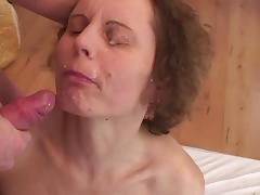 Slutty mom in stockings banged and facialized