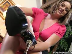 Sierra Sanders licks her toes and gives a footjob to Black guy