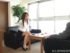 Shiho naughty Asian doll in glasses gives a blowjob and anal porn video