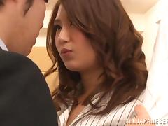 Miku Hasegawa enjoys jumping on a cock in an office