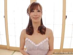 A hot Japanese MILF gets her hairy pussy toyed and then fucked