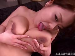 A petite Japanese girl with huge boobs gets fucked hard