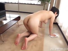 Lovely Miyuki Yokoyama gets fucked after cleaning a floor