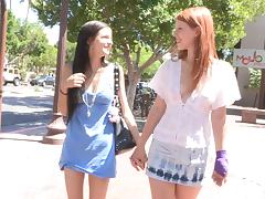 Nasty chicks Tamara and Lacie finger each other's cunts outdoors