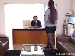 Sayuki Kanno tifucks a prick in an office and takes a good ride on it