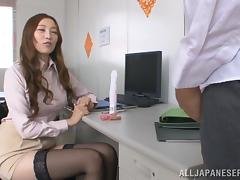 A pleasurable Japanese office babe toys her hot pussy at work