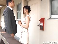 Japanese cutie blows and enjoys banging in missionary position