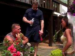 Petite Jade Sin gets banged by two big guys outdoors