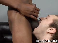 Ebony queer face-fucks some man and drills his ass deep and hard