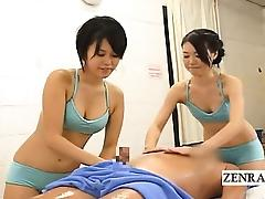 Subtitled CFNM Japanese soapy spa massage with handjob