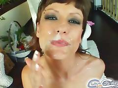 Marvelous Regina Gets A Facial Cumshot By Two Fellows