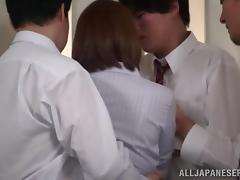 Unexpected threesome sex in the office