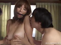 Sweet Chisato Shohda Sucks Two Dicks In A Threesome