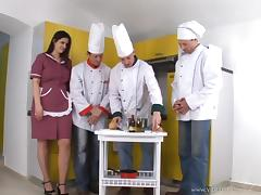 MILF Gangbanged and Creampied by Three Chefs