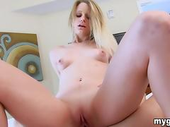 Blonde with perky tits gets her pussy smashed in POV clip
