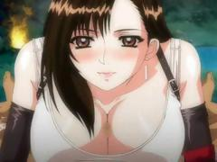 Busty brunette anime is giving this guy a nice POV blowjob