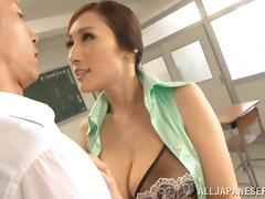 Super hot Japanese teacher is getting a huge one