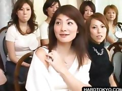 Asian slut shows panties at orgy