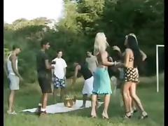 Outdoor tranny gangbang