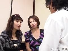 Mature Japanese bitches get her snatches fingered and pounded