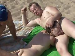 Voyeur, Beach, Blowjob, Brunette, MMF, Nudist