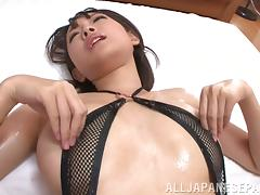 Yuzu Ogura lovely Asian babe in sexy lingerie gets cum facial