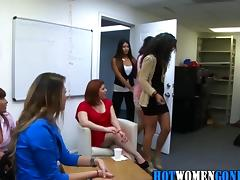 Amateur party babes tug and suck a stripper off