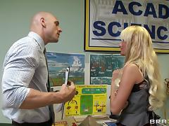 Blonde babe Alexis Monroe lets Johnny Sins drill her pussy from behind