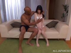 Japanese skank lets a black dude lick and toy her shaved snatch