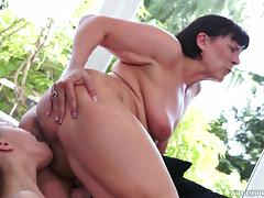 Short-haired brunette granny have fun with younger lesbian