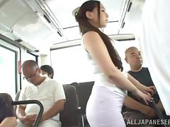 Orgasm, Asian, BBW, Blowjob, Bus, Chubby