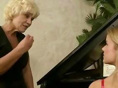 Mom and Boy, Blonde, Cute, Granny, Kissing, Lesbian