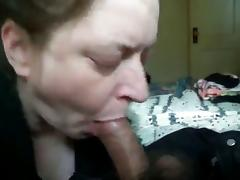 Horny white granny gives good blowjob